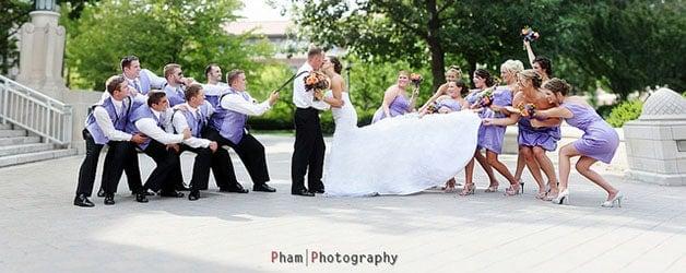 Fun bridal party group wedding photo