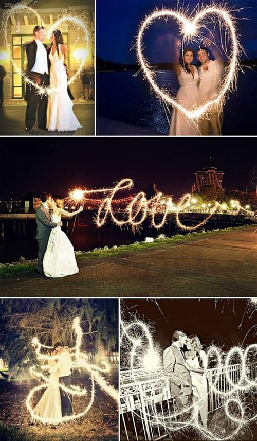 5 examples of long exposure wedding photography of bride and groom