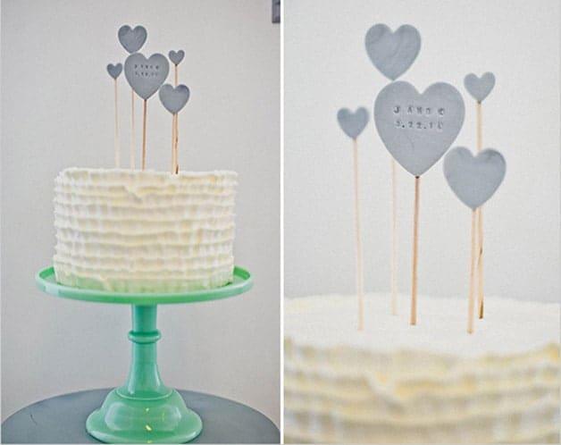 hearts unique cake topper