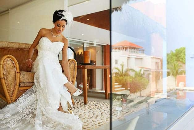 Bride in wedding dress at destination wedding at Zama Beach