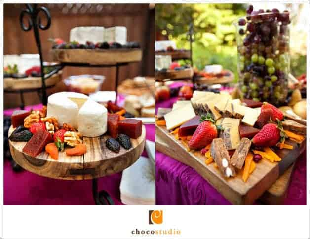 cheese and fruit table alternative for wedding cake