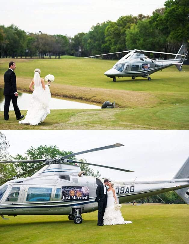 grand wedding exit in helicopter