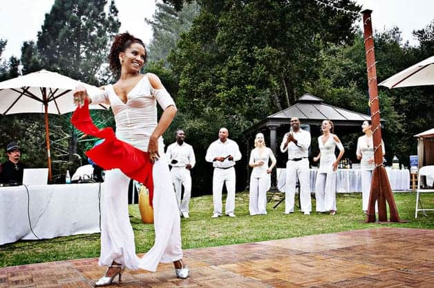 salsa dance performers at wedding reception