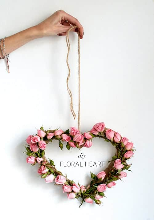 diy floral heart wreath valentines day DIY idea