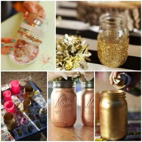 glitter dipped mason jar vases