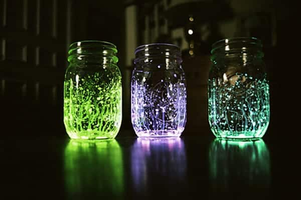 glowing firefly mason jars