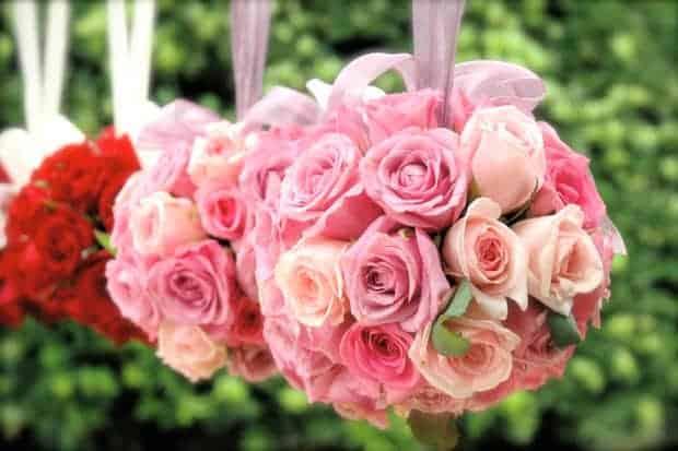 wedding rose pomanders
