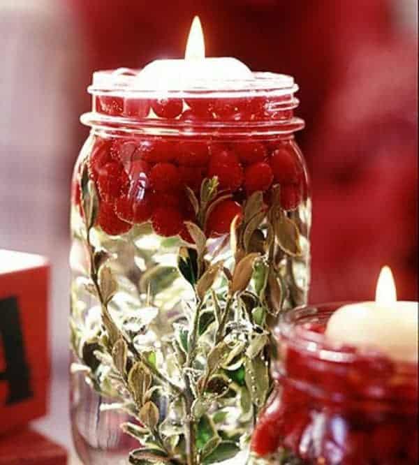 winter votive mason jar centerpieces