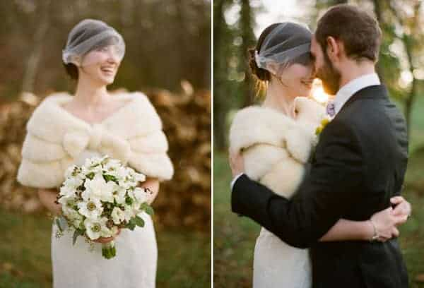 winter wedding ideas faux fur stole