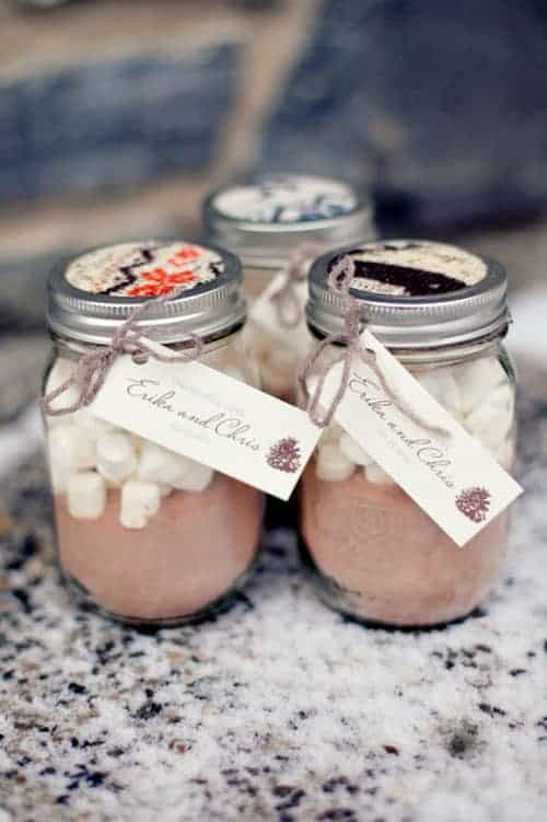 winter wedding ideas mason jar filled with hot cocoa mix