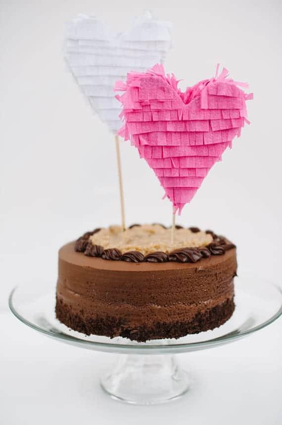 Piñata hearts DIY wedding cake toppers