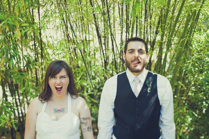 wedding couple making funny faces