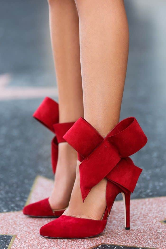 red shoes with red bow