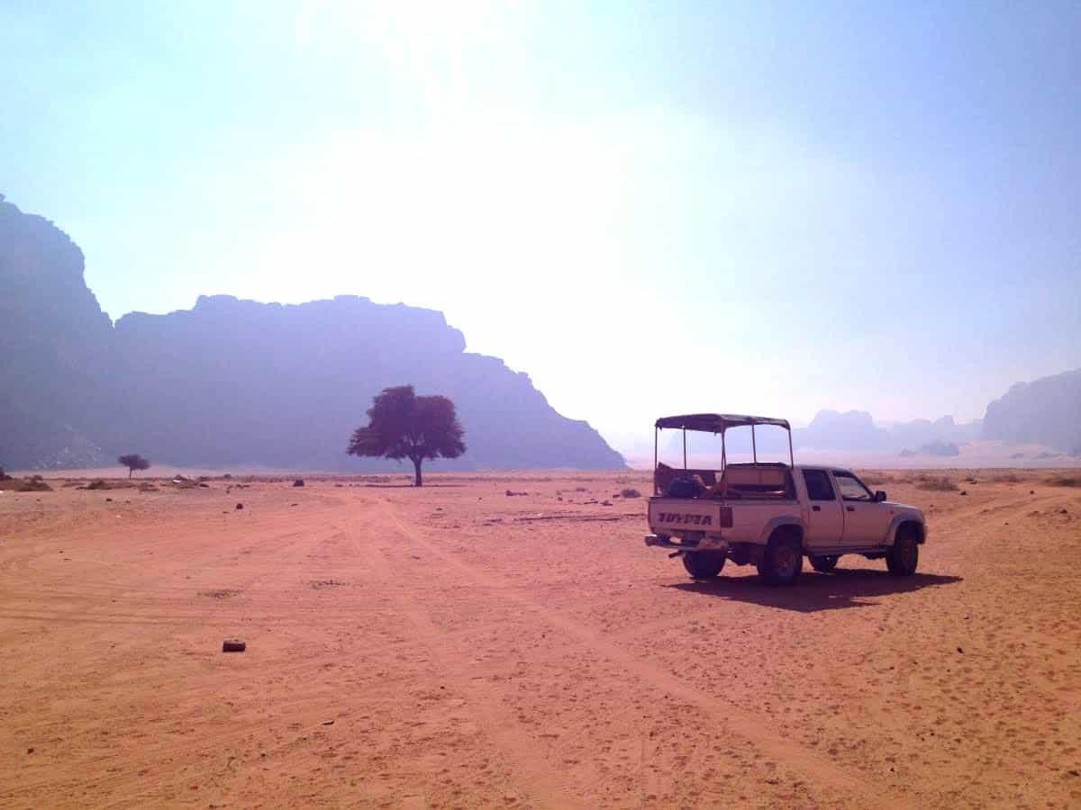 wadi rum desert with truck