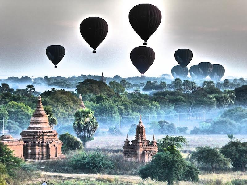 myanmar temples with balloons by stefan