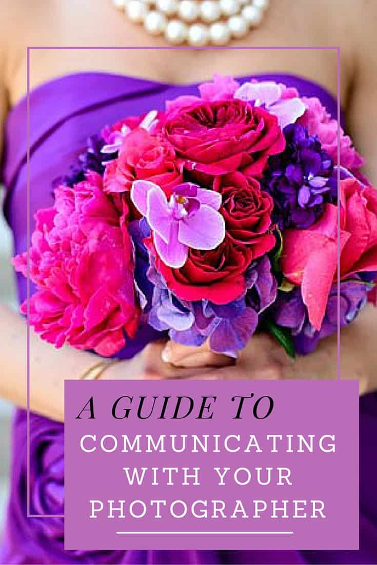 a guide to communicating with your wedding photographer - women in purple with flower bouquet