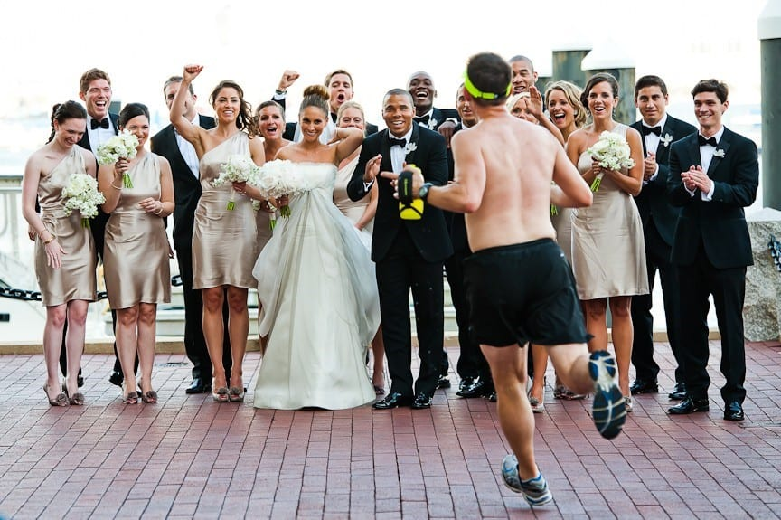 man jogger photobomb wedding party