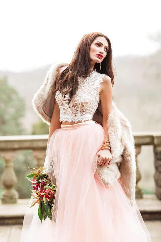 Two-piece wedding dress with pink