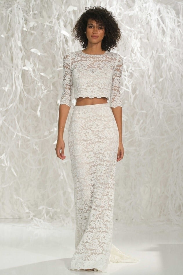 Two-piece wedding dress with lace