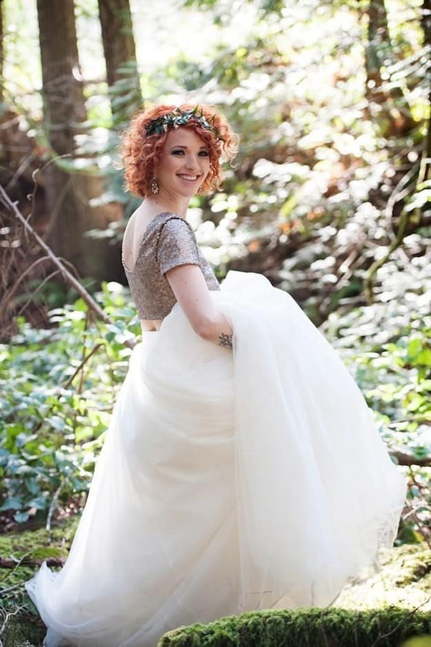 Two-piece wedding dress with glitter top