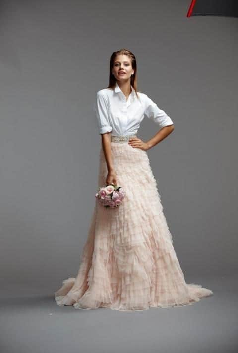 Two-piece wedding dress with biege and modern blouse top