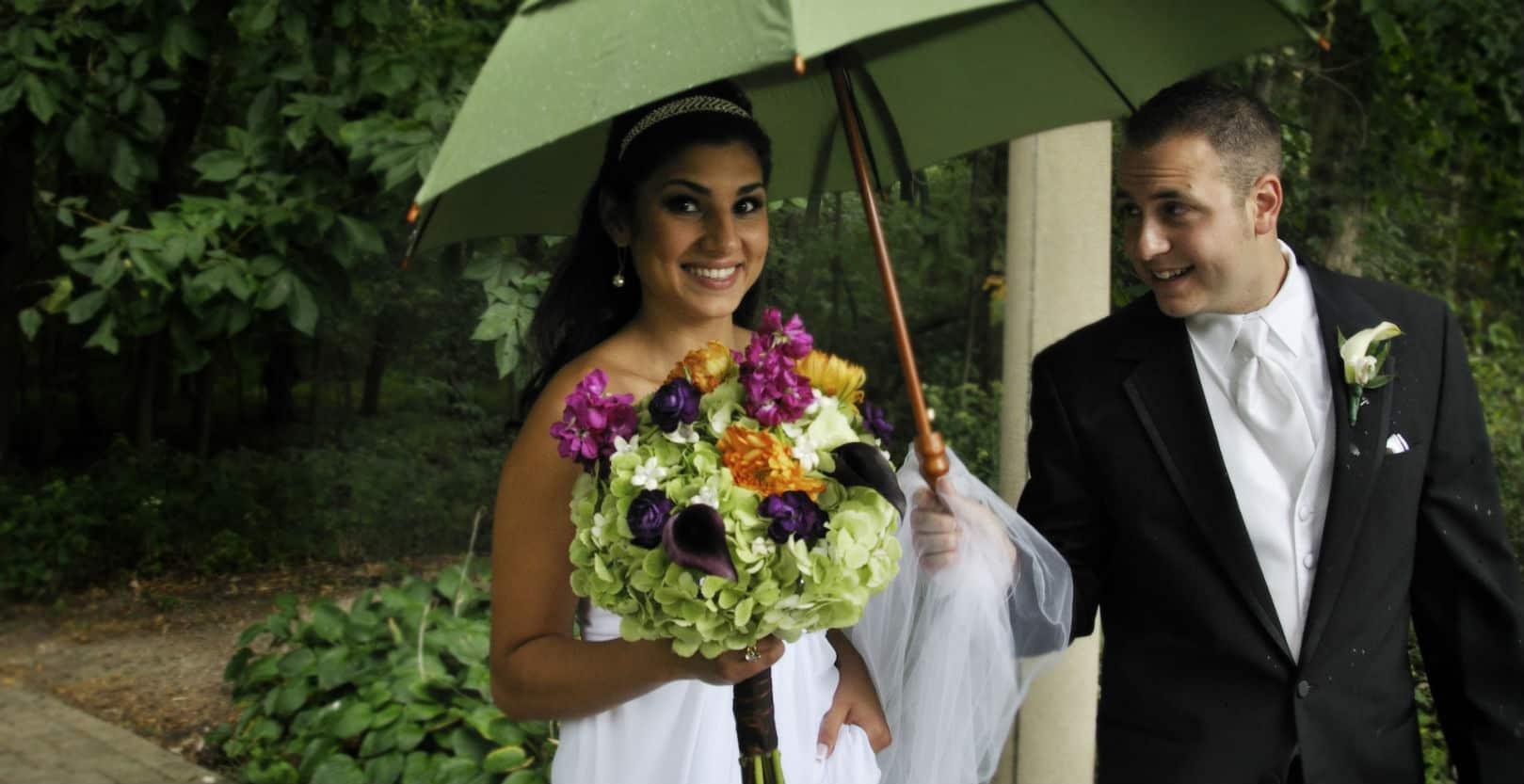 woman in the rain on wedding day