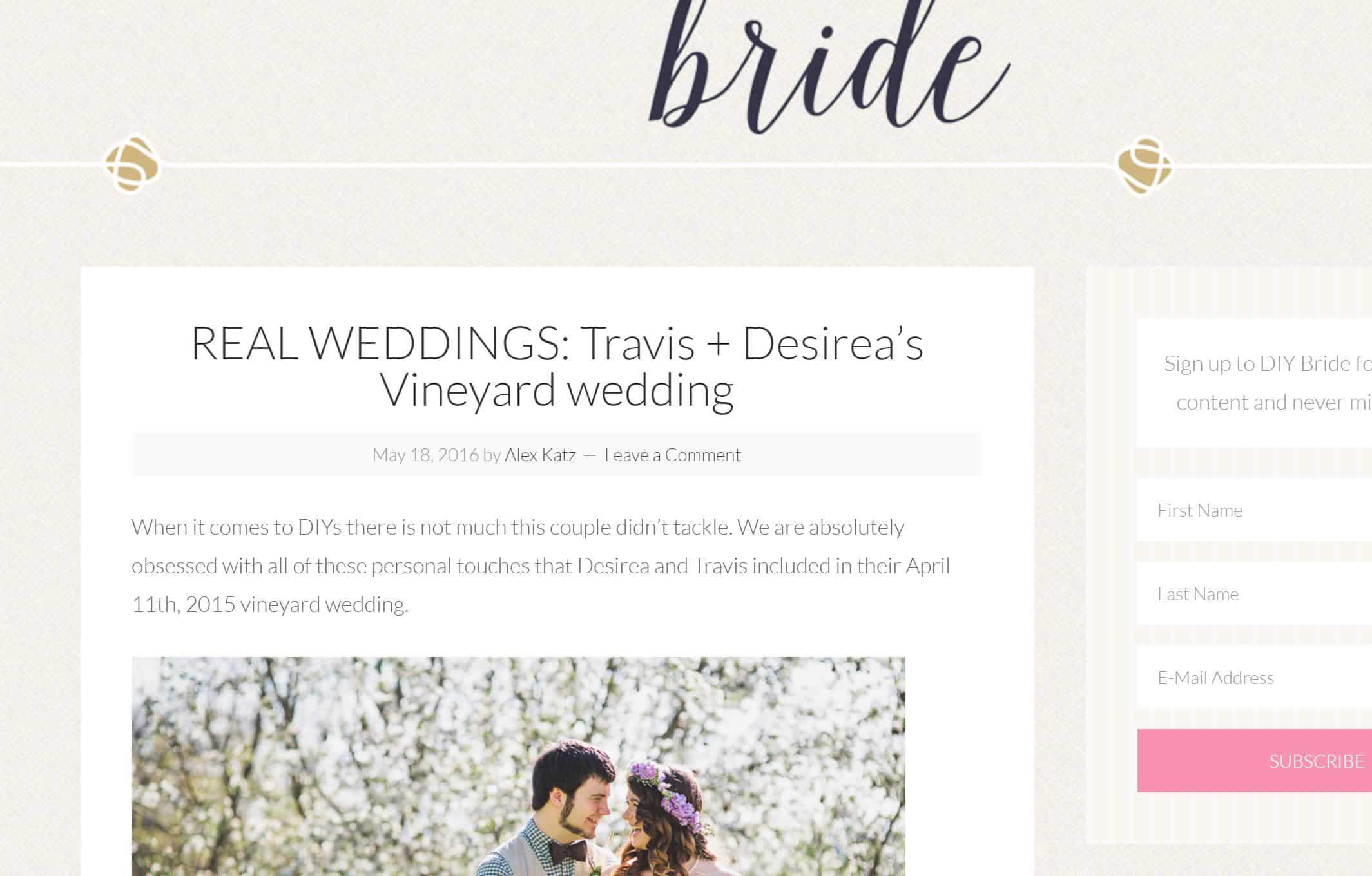 diy bride banner homepage