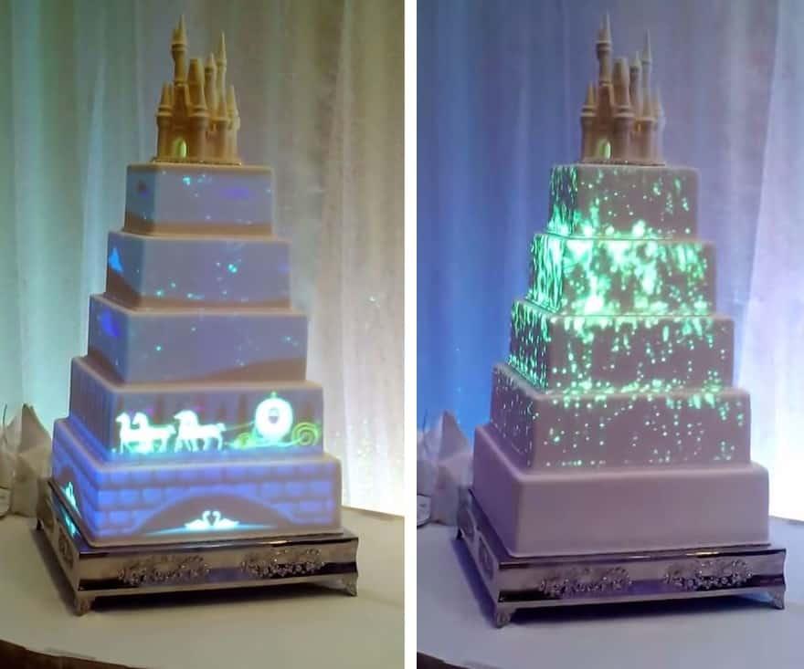 bride and blossom led cake cinderella