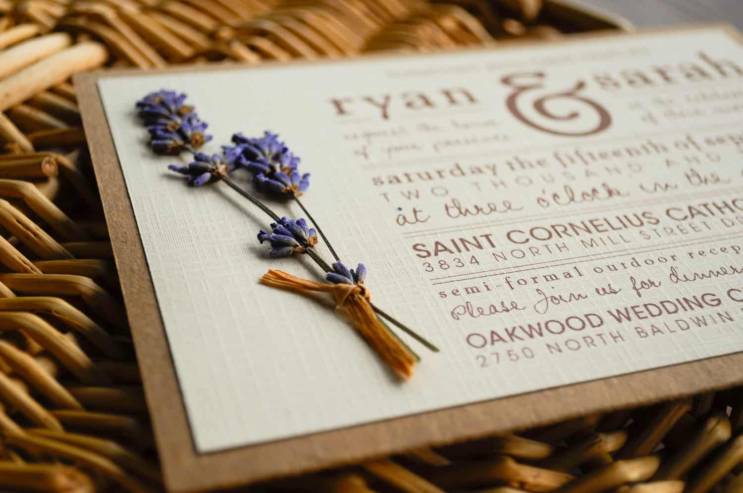 dirokken diy wedding invitation lavender press flowers