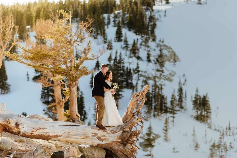 maddie mae wedding outdoors snowy forest