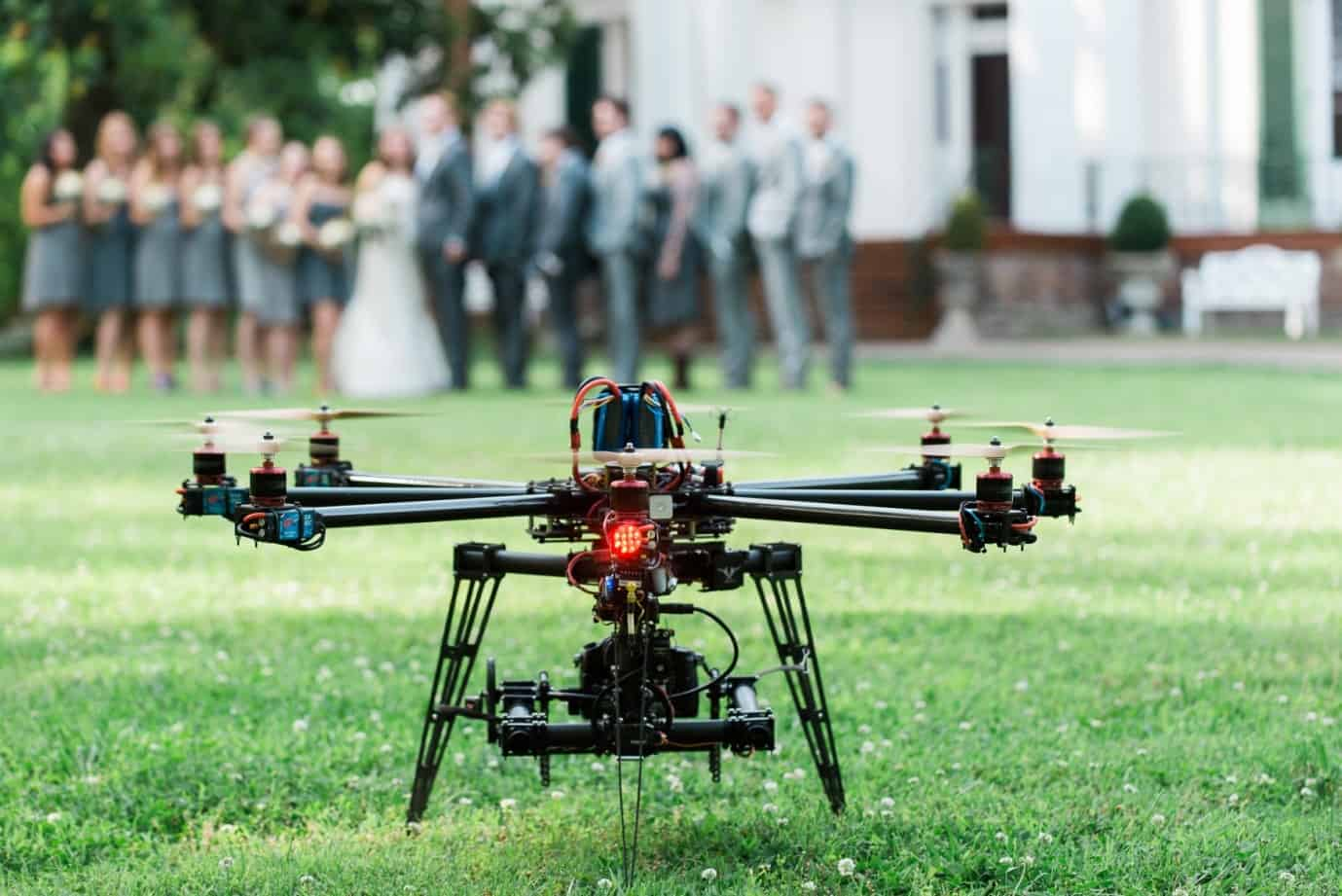 with this ring drone wedding party in background